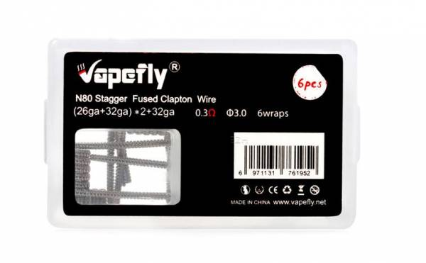 Vapefly 6x Prebuilt Stagger Fused Clapton Ni80 Coil