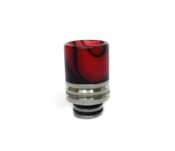 Drip Tip aus Acryl+Edelstahl rot schwarz