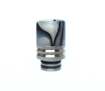 Drip Tip aus Acryl+Edelstahl schwarz weiss
